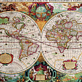 Antique Map Of The World - Double Hemisphere by Peggy Collins