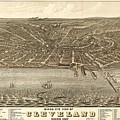 Antique Maps - Old Cartographic Maps - Antique Birds Eye View Map Of Cleveland, Ohio, 1877 by Studio Grafiikka