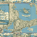 Antique Maps - Old Cartographic Maps - Antique Map Of Cape Cod, Massachusetts, 1945 by Studio Grafiikka