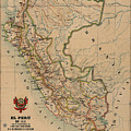 Antique Maps - Old Cartographic Maps - Antique Map Of Peru, South America, 1913 by Studio Grafiikka