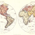 Antique Maps - Old Cartographic Maps - Antique Map Of The Eastern And Western Hemisphere, 1850 by Studio Grafiikka