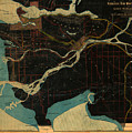Antique Maps - Old Cartographic Maps - Antique Map Of Vancouver, New Westminster, Steveston by Studio Grafiikka