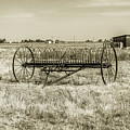 Antique Mccormick Hay Rake - Black And White by Gene Parks