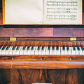 Antique Piano And Music Sheet by Silvia Ganora