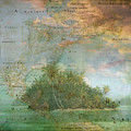 Antique Vintage Map Of North America Tropical Ocean by Debra and Dave Vanderlaan