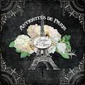 Antiquities De Paris Eiffel Tower  Floral by Audrey Jeanne Roberts
