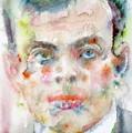 Antoine De Saint-exupery - Watercolor Portrait.2 by Fabrizio Cassetta