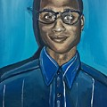 Black Man Cartoon Art, Nerd Guy With Glasses, Painting by Ai P Nilson