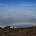 Anuenue - Rainbow At The Ahinahina Ahu Haleakala Sunrise Maui Hawaii by Sharon Mau