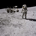 Apollo 16 Astronaut Collects Samples by Stocktrek Images