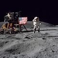 Apollo 16 Astronaut Leaps by Stocktrek Images