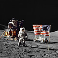 Apollo 17 Astronaut Stands by Stocktrek Images