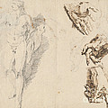 Apollo And Studies Of The Artist's Own Hand [recto] by Francesco Fontebasso