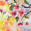 Apple Blossoms And Bee Watercolor by Ginette Callaway