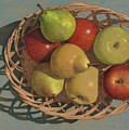 Apples And Pears In A Wicker Basket  by John Dyess