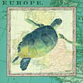 Aqua Maritime Sea Turtle by Debbie DeWitt