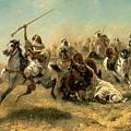 Arab Horsemen On The Attack by Adolf Schreyer