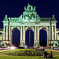 Arcade Du Cinquantenaire At Night - Brussels by Barry O Carroll