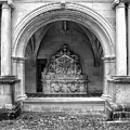 Arch At Fontevraud Abbey Bw by Dave Mills