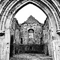 Athassel Priory Tipperary Ireland Medieval Ruins Decorative Arched Doorway Into Great Hall Bw by Shawn O'Brien
