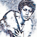 Aretha Franklin Portrait In Blue by Pd