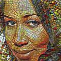 Aretha Franklin Tribute Mosaic Portrait 2 by Yury Malkov