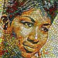 Aretha Franklin Tribute Mosaic Portrait 3 by Yury Malkov