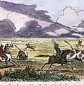 Argentina: Gauchos, 1853. Gauchos Catching Cattle On The Argentine Pampas. Wood Engraving, American, 1853 by Granger