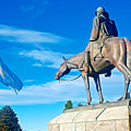 Argentinian Flag And Julio Roca-1843 To 1914-sculpture In Central Park In Bariloche-argentina  by Ruth Hager