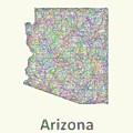 Arizona Line Art Map by David Zydd