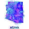 Arizona Map Watercolor 2 by Bekim Art