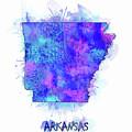 Arkansas Map Watercolor 2 by Bekim Art