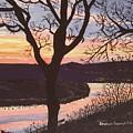 Arkansas River Sunset by Sharon  De Vore