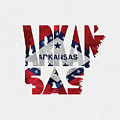 Arkansas Typographic Map Flag by Inspirowl Design