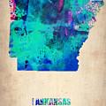 Arkansas Watercolor Map by Naxart Studio