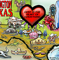 Arlington Texas Cartoon Map by Kevin Middleton