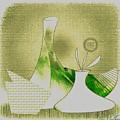 Arrangement In Green And Yellow by Iris Gelbart