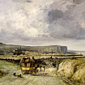 Arrival Of A Stagecoach At Treport by Jules Achille Noel