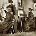 Art Class Oil Painting Teacher  And Art Students 1900 by California Views Archives Mr Pat Hathaway Archives