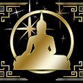 Art Deco Buddha - Stars - Black by Chuck Staley