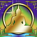 Art Deco Buddha - Stars - Purple by Chuck Staley