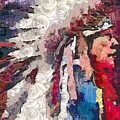 Art Indian Chief Pearlesques In Fragments  by Catherine Lott