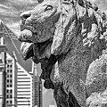 Art Institute In Chicago Lion Black And White by Christopher Arndt