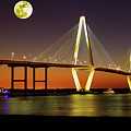 Arthur Ravenel Bridge At Night by Bill Barber