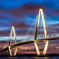 Arthur Ravenel Bridge At Night by Jennifer White