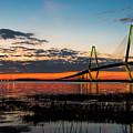 Arthur Ravenel Bridge Twilight by Robert Loe