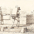 Artist Carrying Easel With A Lithographic Stone by Horace Vernet