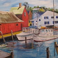 Artist In New England Dock by Gloria Condon