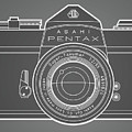 Asahi Pentax 35mm Analog Slr Camera Line Art Graphic White Outline by Monkey Crisis On Mars