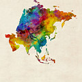 Asia Continent Watercolor Map by Michael Tompsett